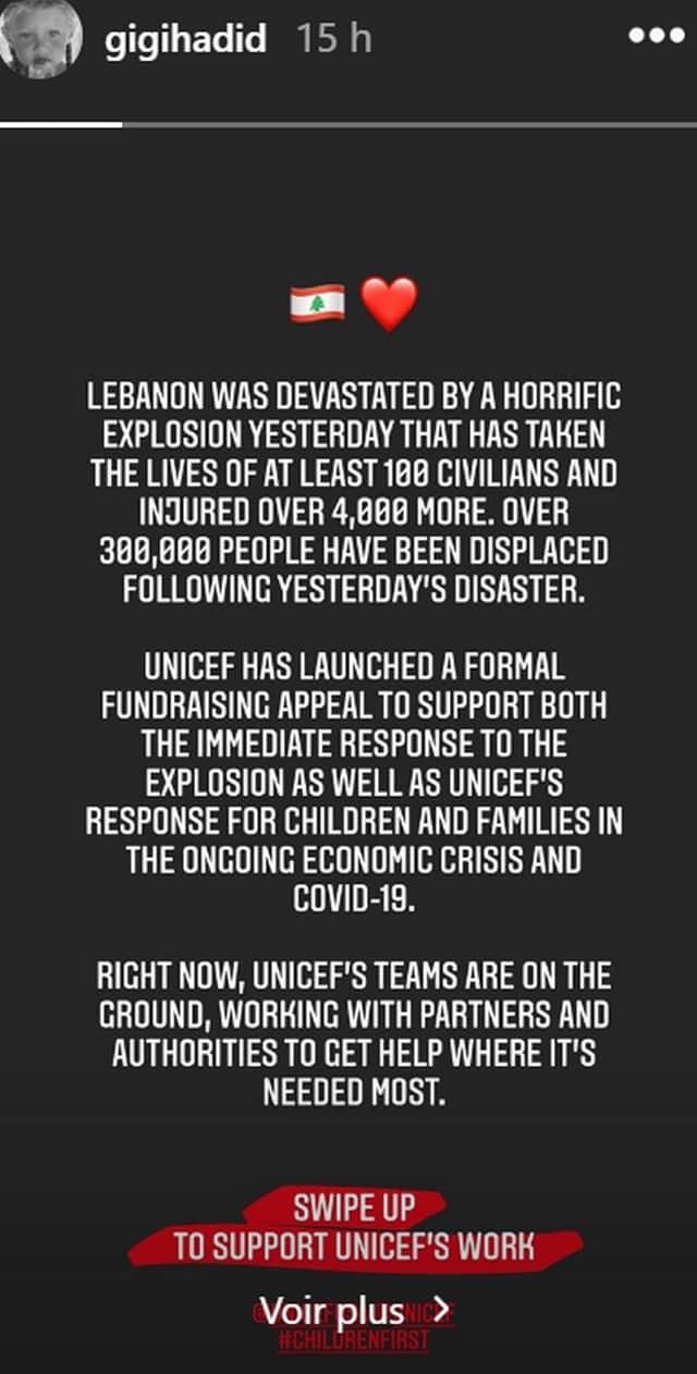 Gigi Hadid se mobilise pour venir en aide au Liban !