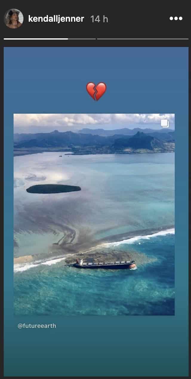 Kendall Jenner bouleversée par la marée noire sur l'île Maurice !