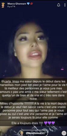 Maeva Ghennam (Les Marseillais) cette très belle déclaration à Carla Moreau !