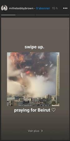Millie Bobby Brown bouleversée par la double explosion au Liban !