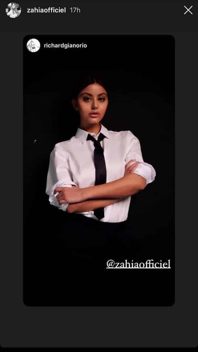 Zahia Dehar adopte un look strict en cravate sur Instagram !