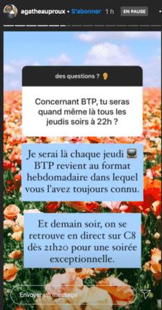 Agathe Auproux explique pourquoi elle est de retour dans BTP 09092020-
