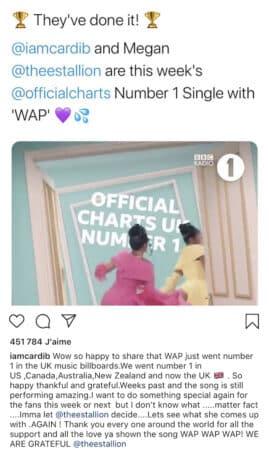 Cardi B bat un nouveau record et réagit au succès de son clip WAP !