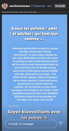 Caroline Receveur se mobilise contre le harcèlement scolaire sur Instagram 03092020-