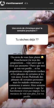 Iris Mittenaere prend des mesures face à ses haters sur Instagram !