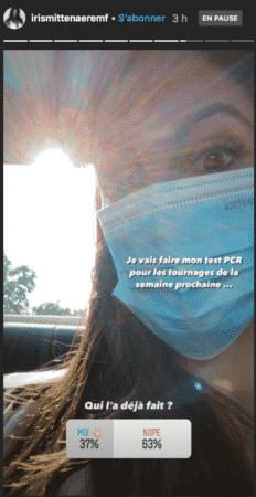 Iris Mittenaere très stressée à l'idée de faire un test PCR 11092020)