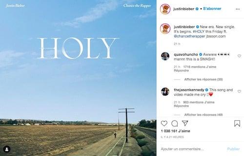 "Justin Bieber tease sa collaboration avec Chance The Rappeur ""Holy"" !"