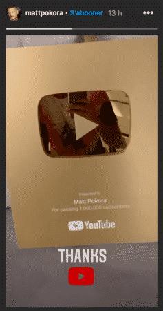 M Pokora a dépassé les 1 million d'abonnés sur YouTube