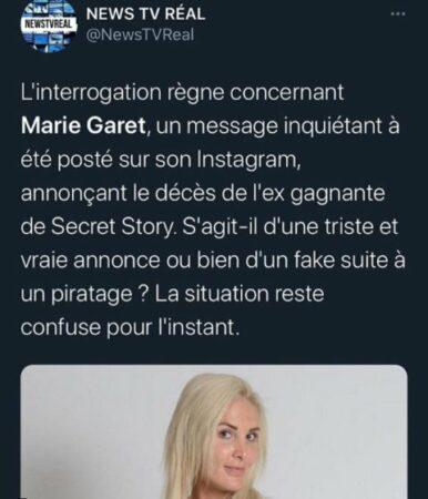 Marie Garet: la candidate de Secret Story 5 est hospitalisée !