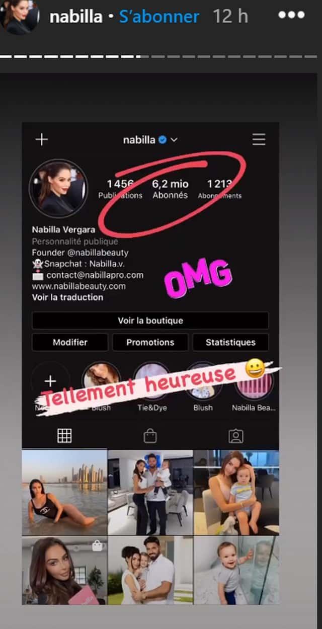 Nabilla passe la barre des 6,2 millions d'abonnés sur Instagram !
