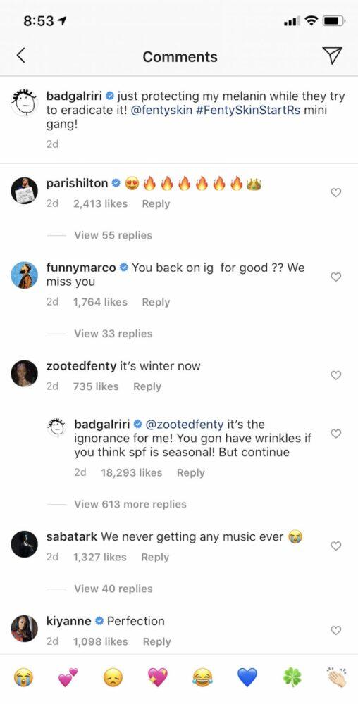 Rihanna, vexée par le commentaire d'un fan sur Instagram