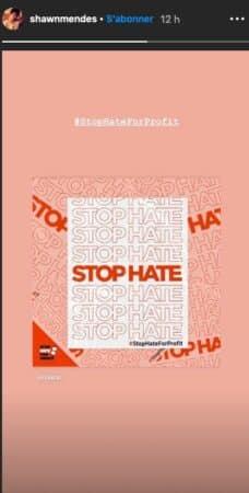 Shawn Mendes rejoint le mouvement Stop Hate For Profit sur Instagram !