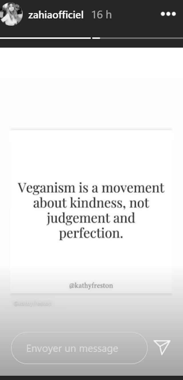 Zahia Dehar réaffirme ses idées vegan sur Instagram !