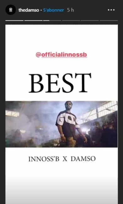Damso: son featuring avec le rappeur INNOSS'B est enfin disponible