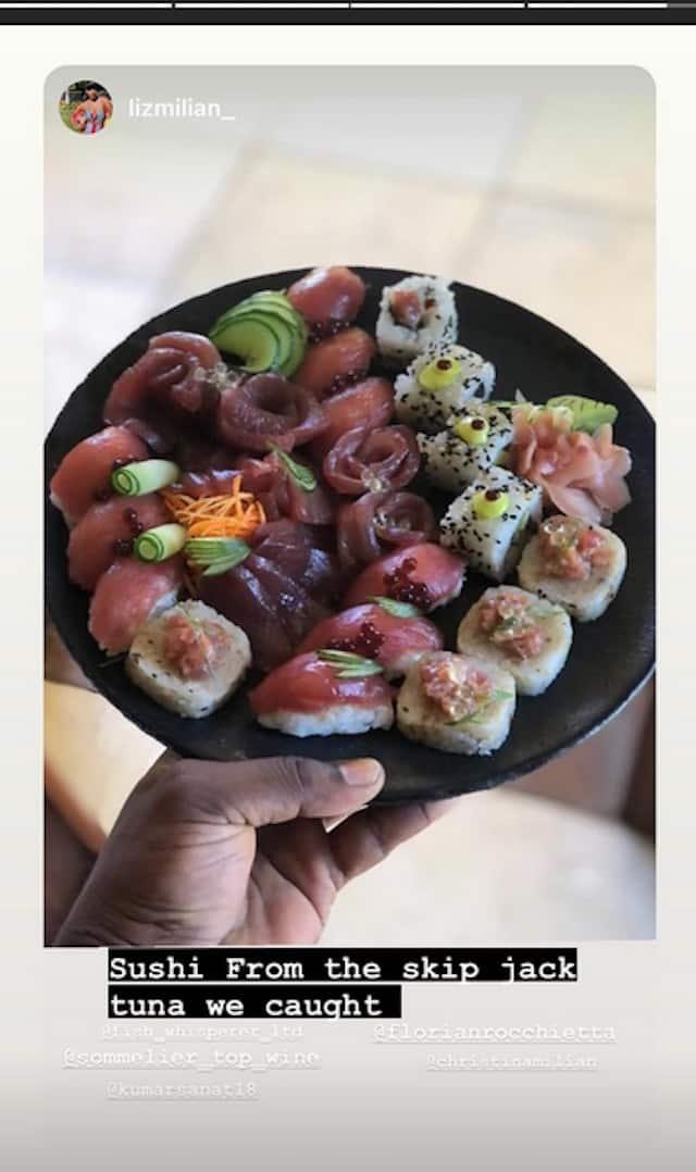 Christina Milan salive devant ce joli plateau de sushis faits maison !