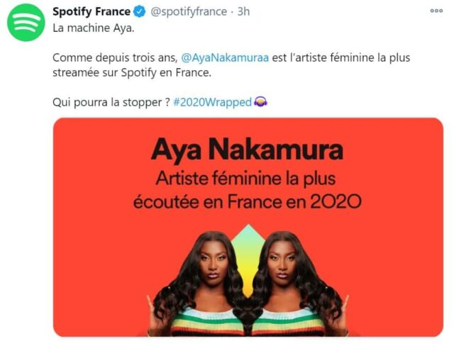 Aya Nakamura artiste féminine la plus streamée en France sur Spotify !