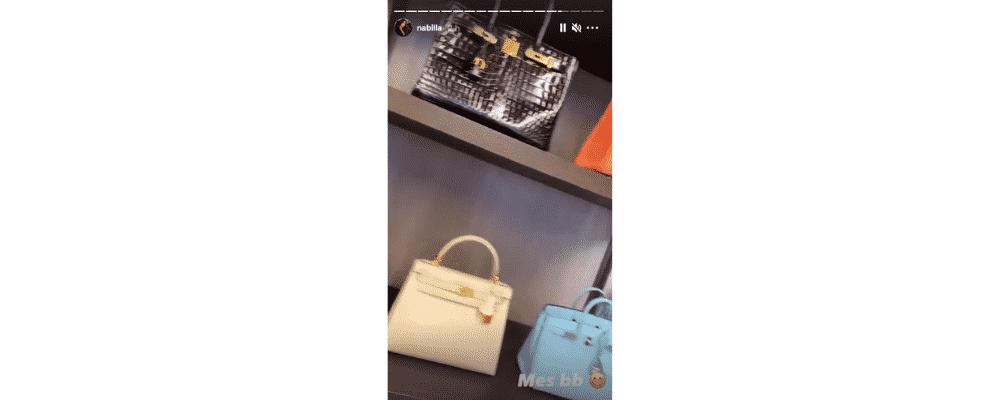 """Nabilla dévoile son impressionnante collection de sacs à main """"Mes bébés"""" !"""