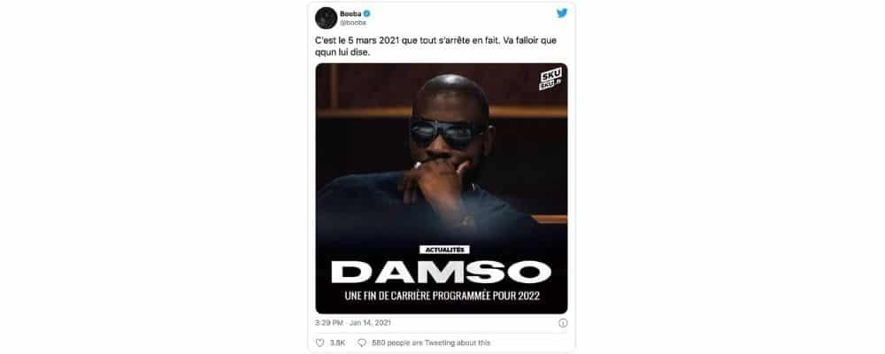 Booba clashe Damso et annonce la fin de sa carrière pour mars 2021 !