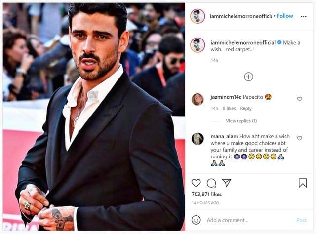 Michele Morrone a la classe sur le tapis rouge en costard sur Instagram !