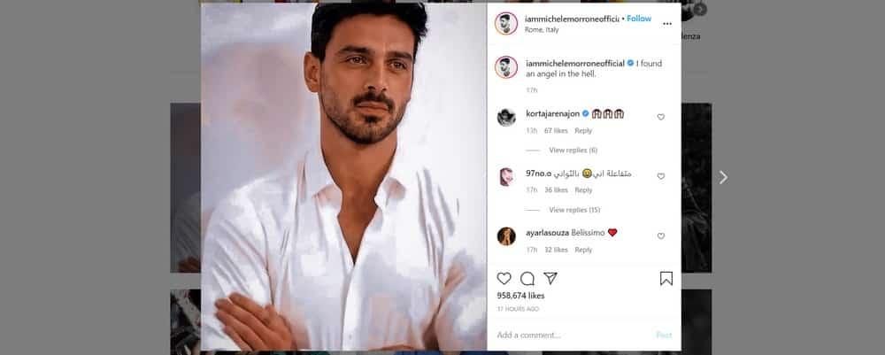 Michele Morrone dévoile un magnifique portrait de lui sur Instagram