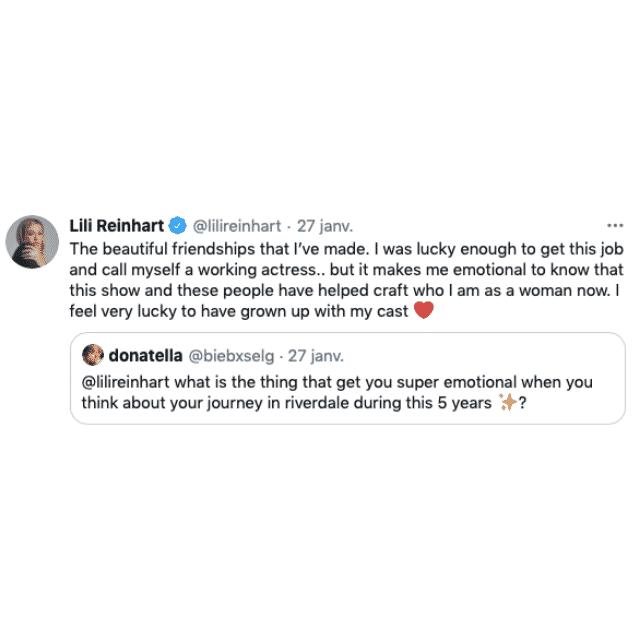 Lili Reinhart (Riverdale) fait une belle déclaration à ses co-stars !