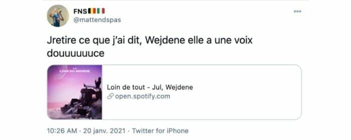 Wejdene son feat «Loin de tout» avec Jul conquis toujours les fans