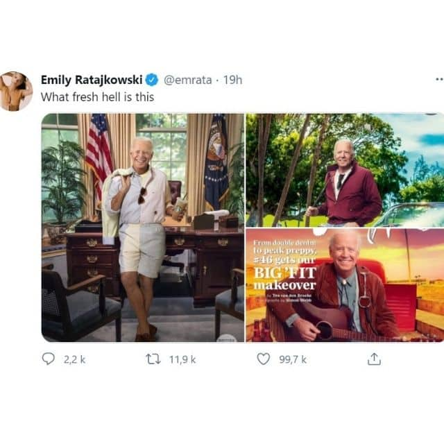 Emily Ratajkowski choquée par le shooting photo de Joe Biden !