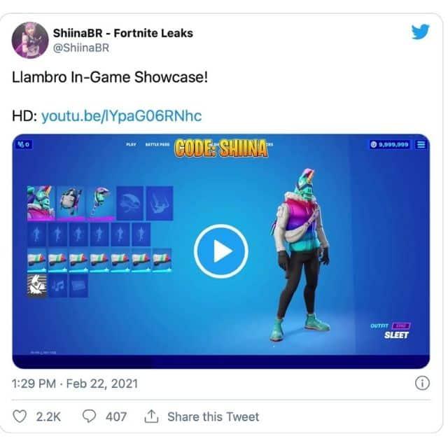 Fortnite tease l'arrivée du skin lama Llambro sur Twitter !