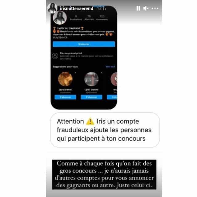Iris Mittenaere victime d'usurpation d'identité sur Instagram !