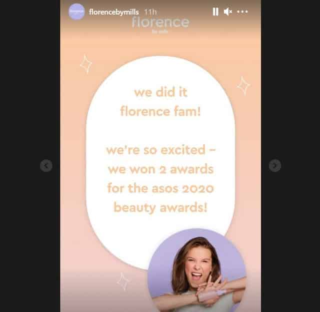 Mille Bobby Brown: Florence By Mills élue aux ASOS Beauty Awards 2020 !