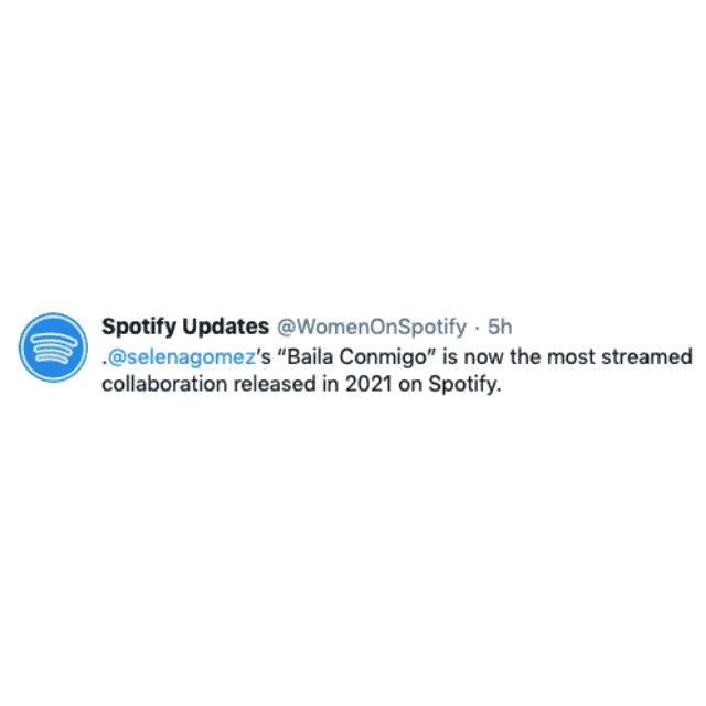 Selena Gomez: «Baila Conmigo» feat le plus diffusé en 2021 sur Spotify !