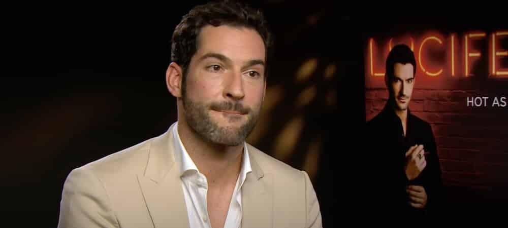 Tom Ellis (Lucifer) classe en smoking sur le tournage de la série1000