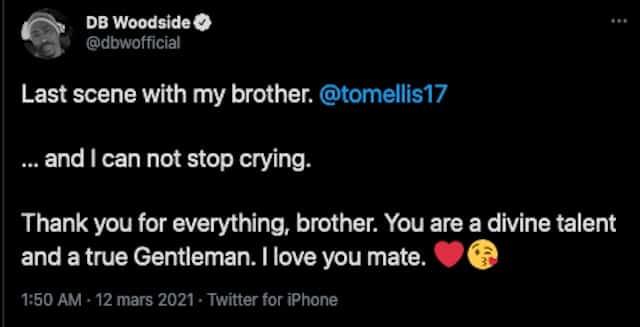 DB Woodside (Lucifer) en larmes après sa dernière scène avec Tom Ellis !
