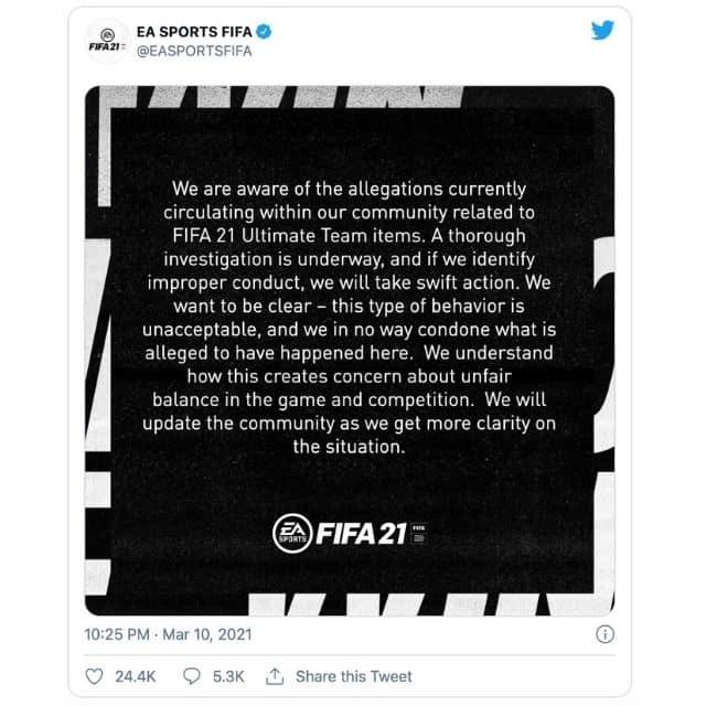 FIFA 21: un salarié d'EA aurait vendu des cartes FUT pour 1700 euros !