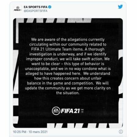 FIFA 21: les joueurs de FUT victimes de fraude EA réagit au scandale !