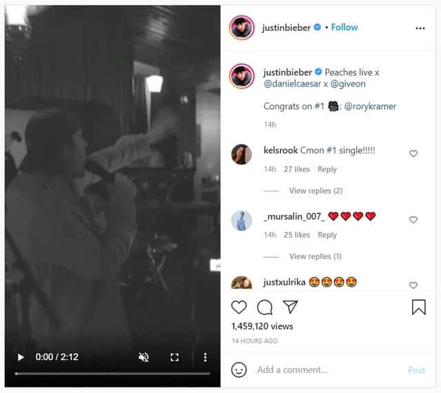 """Justin Bieber chante en live son titre """"Peaches"""" sur Instagram !"""