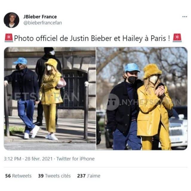 Justin Bieber et Hailey Baldwin incognito dans les rues de Paris !