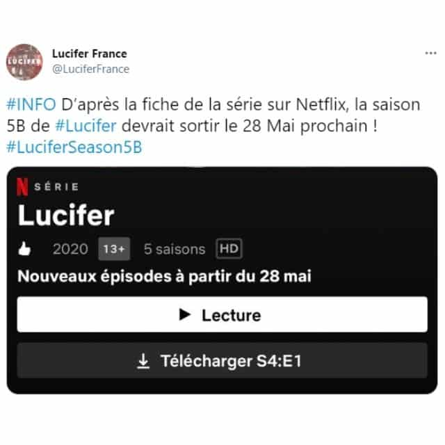 Lucifer saison 5: la suite disponible en mai sur Netflix ?
