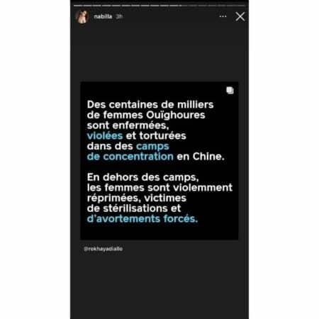 Nabilla soutient les femmes ouïghoures persécutées en Chine !