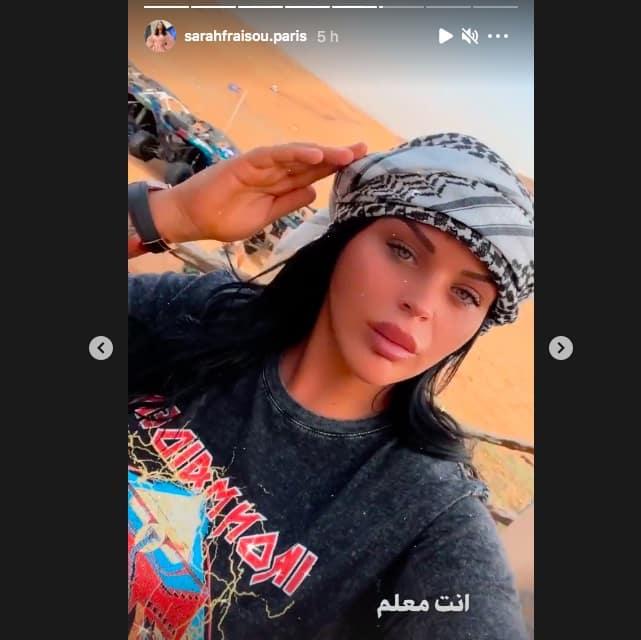 Sarah Fraisou lumineuse au milieu du désert sur Instagram !