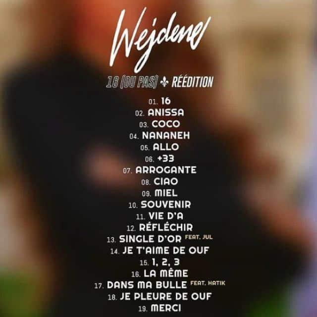 Wejdene dévoile la tracklist de la réédition de son album «16» !
