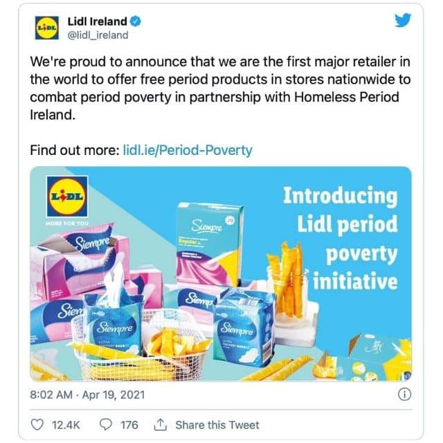 Lidl Irlande distribue gratuitement des protections hygiéniques !