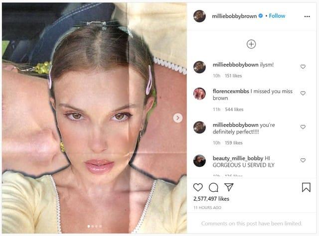 Millie Bobby Brown dévoile des selfies très inédits sur Instagram !