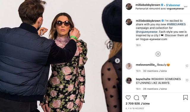 Millie Bobby Brown très classe en robe pour sa collection Vogue !