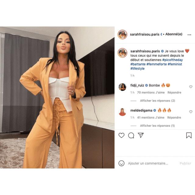 Sarah Fraisou ultra sensuelle en maxi décolleté sur Instagram !