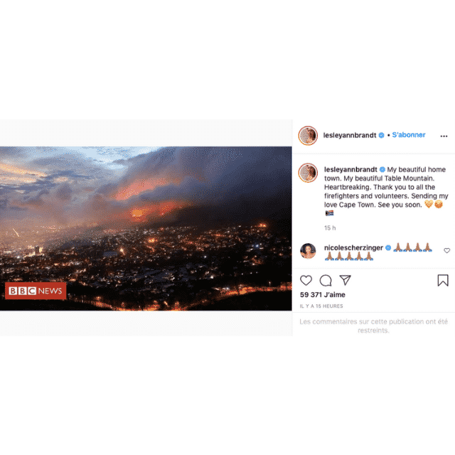 Lesley-Ann Brandt (Lucifer) touchée par le gros incendie à Cape Town !