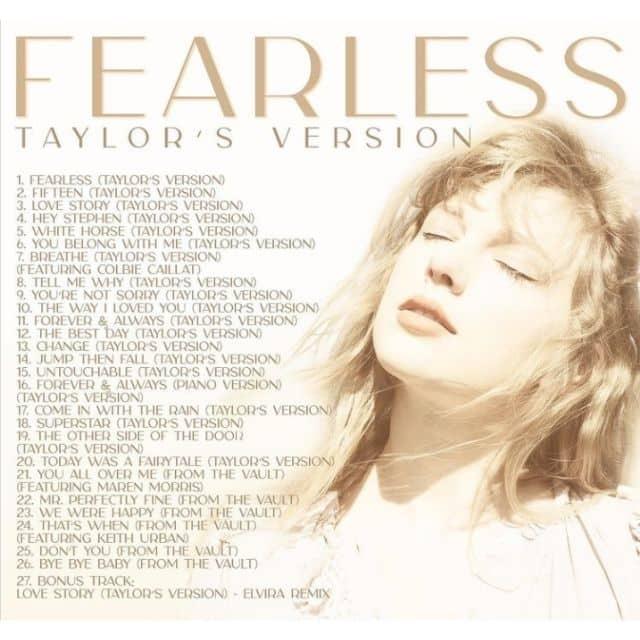 Taylor Swift balance la tracklist entière de son album Fearless !