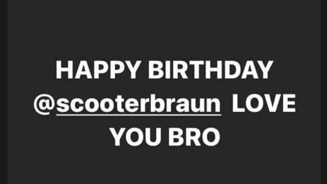 Justin Bieber met à l'honneur son ami Scooter Braun sur Instagram